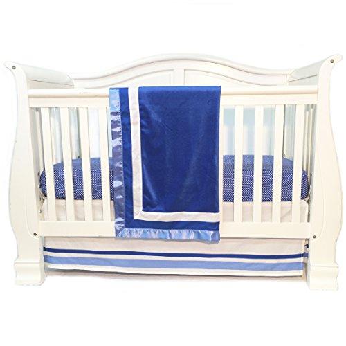 One Grace Place Simplicity Blue Infant Crib Bedding Set, Blue/White