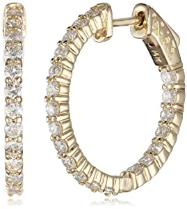14kt Yellow Gold Diamond Inside and Outside Shared-Prong Hoops, 2 Cttw (H-I Color, SI2-I1Clarity)