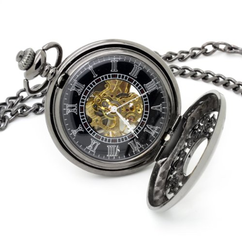 Vantasy Antique Attraction Magic Half Hunter Black Steel Skeleton Hand Wind Mechanical Pocket Watch Long Chain Value Quality