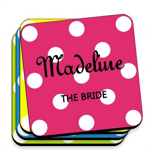 Wedding Favors Multi Color Personalized Polka Dot Coaster Set