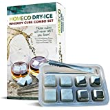 Whiskey Stones Combo Set, Dry-Ice Gift Set, Stainless Steel Whiskey Cubes and Soapstone Whiskey Rocks Combo Set, Whiskey Chiller, Wine Chiller