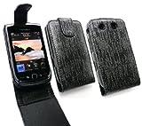 Emartbuy® Blackberry 9800 / 9810 Torch Premium Glitter Flip Case/Cover/Pouch Black