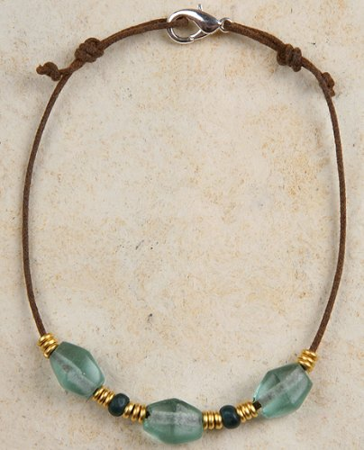 Anklet - Recycled Glass and Brass Beads