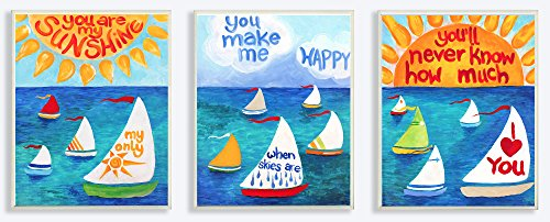 The Kids Room by Stupell You are my Sunshine Sailboats 3-Pc Rectangle Wall Plaque Set