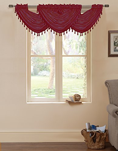 Artistic Linen Rod Pocket Eastern Window Valance, 36 by 37-Inch, Burgundy - 1