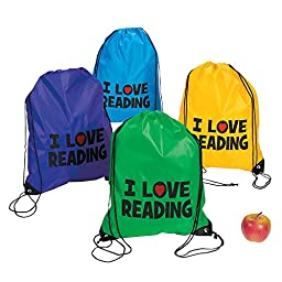 1 ~ I Love Reading Drawstring Backpack ~ Polyester ~ Approx. 14\