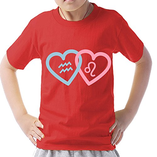 Print brand and Aquarius and Leo short-sleeved T shirt XL Red