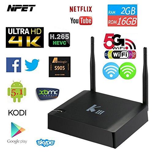 NPET KIII Amlogic S905 Quad-core 2GB 16GB Android 5.1 Smart TV BOX Streaming Média 4K WIFI XBMC KODI 15.2 Intégré pour Divertissement à Domicile