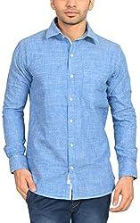 Libisto Lifestyle Men's Casual Shirt (AA1-01-FS-SOLID DODGER BLUE-7751, Blue, L)