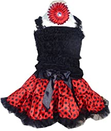 Girls Pettiskirt Set - Red and Black Polka Dots MED 4-5