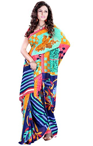 Esvaab MultiColored Georgette Printed Saree with Unstitched Blouse Piece