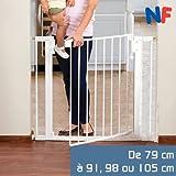 Monsieur Bébé ® Barrière de sécurité extensible de 79cm à 91cm, 98cm ou 105cm - Trois dimensions - Norme NF EN1930 - 2011...