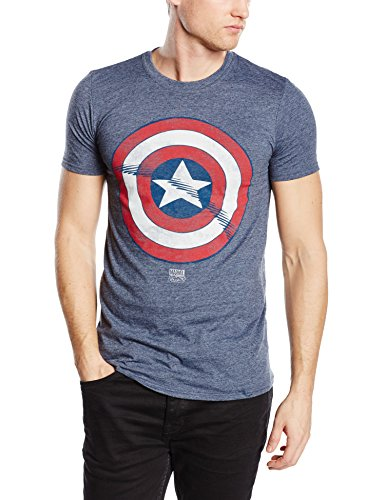 Marvel Captain America Shield-T-shirt  Uomo    Blu (Heather Navy) Large