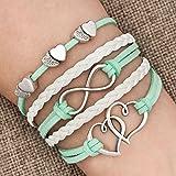 LovelyJewelry Leather Wrap Bracelets Girls Double Hearts Infinity Rope Wristband Bracelets Gifts (Green)