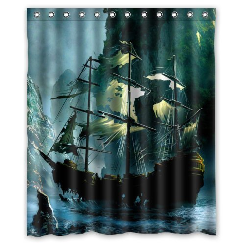 Special Design Cute Nautical Vintage Sailing Pirate Ship Theme Waterproof Bathroom Shower Curtain 60Wx72H InchBathroom Decor