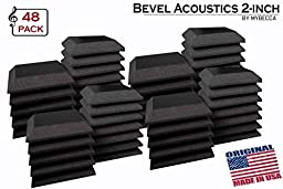 Mybecca [48 PACK] Acoustic BEVEL Tiles Soundproofing Wall Panel 12 x 12 x 2 inch, Made in USA