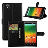ZTE ZMAX Z970 Case - Cafeleo PU Leather Wallet Case with Card Slots Cash Compartment for ZTE ZMAX Z970 (TMOBILE METRO) BLACK EXECUTIVE WALLET