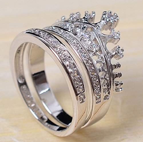 Shinning Princess Noble Crown 18k White Gold Plated AAA Zircon Swarovski Crystal Austria Crystal Rhinestone Ring Wedding Engagement Bridal Ring Mother's Day Gift R1 (5)