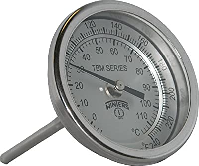 Winters TBM Series Stainless Steel 304 Single Scale Bi-Metal Thermometer
