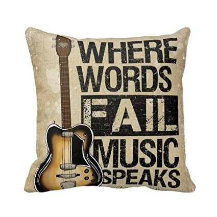 Where Words Fall Music Speaks Quote Throw Pillow Case Vintage Cushion Cover Guitar Pillowcase 16X16 Twin Sides