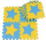 10 pcs Esterillas de juegos para ni�os Colchonetas de espuma para beb� Baby Crawling Mat Esteras Del Rompecabezas para Arrastrar y Estudiar a Caminar Alfombrillas de espuma para caminar a los ni�os 30cm * 30cm * 1cm cada pieza (pentagrama, azul + ama