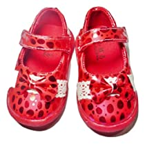 """Red Dress Shoes with Sparkling Dots 4.5"""" Soles"""