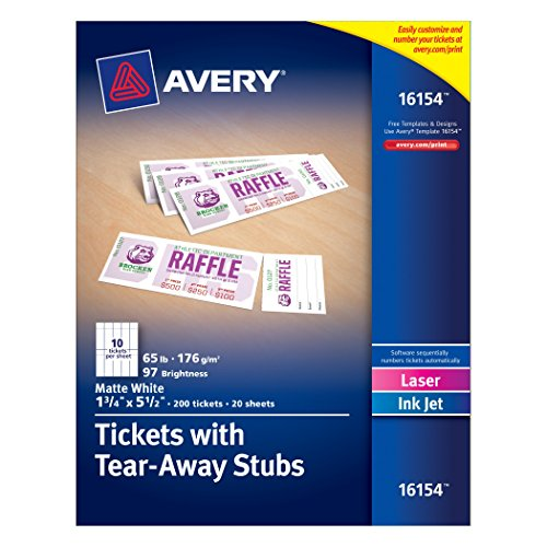 Avery Tickets with Tear-Away Stubs, 1.75 inches x 5.5 inches, Matte White, Pack of 200 (16154) (Event Tickets Numbered compare prices)