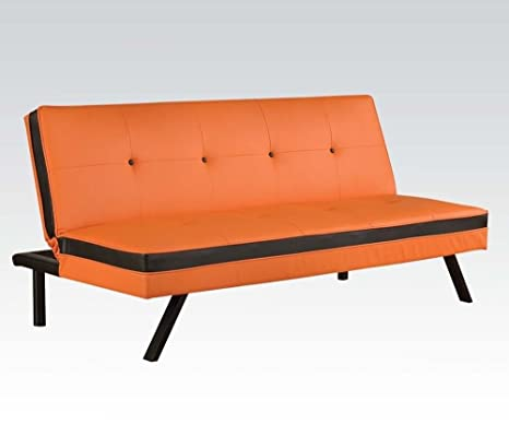 Acme 57110 Modern Orange & Black PU Sleeper Sofa
