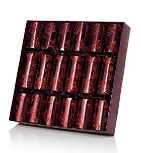 6 Metallic Red Luxury Christmas Crackers