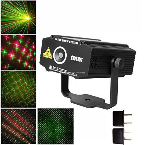 New Mini Red Green 4 Patterns Gobo Stars Projector Portable Dj Lighting Light Dance Disco Bar Birthday Wedding Party Christmas Xmas Effect Stage Light Show B28