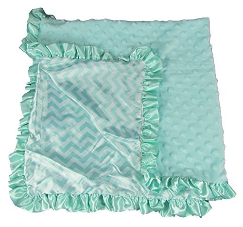 Boy Or Girl Unisex Aqua Chevron Print Minky Baby Blanket