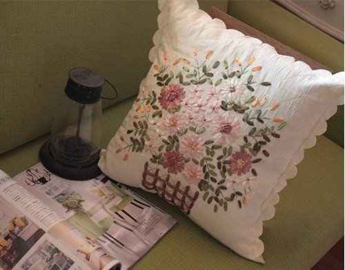 Hand Ribbon Embroided Flowers Basket Cushion Cover