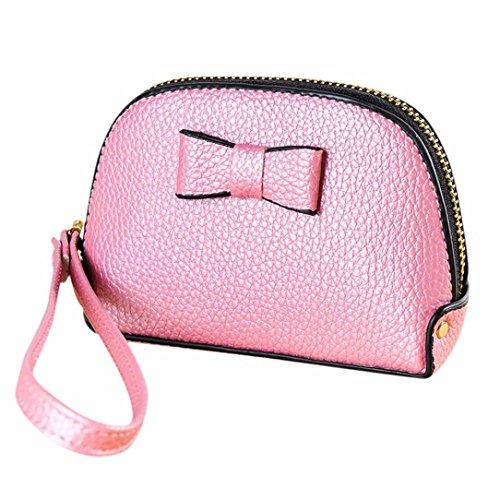 Kingko® le donne di moda solida cerniera arco possessori di carta della borsa della moneta del portafoglio della borsa (Rosa)