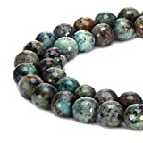 BRCbeads Natural Africa Turquoise Gemstone Loose Beads Faceted Round 8mm Crystal Energy Stone Healing Power for Jewelry Making