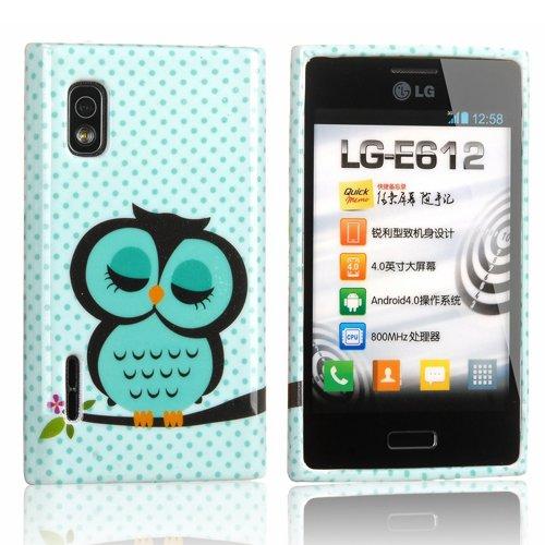 Semoss Schutzhülle für LG Optimus L5 E610 Hülle TPU Silikon Rückschale Schutz Hülle Silicon Case mit Eule Owl Muster in Hellgrün