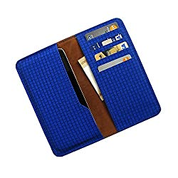 i-KitPit : PU Leather Wallet Flip Pouch Case For Micromax bolt A075 (BLUE)