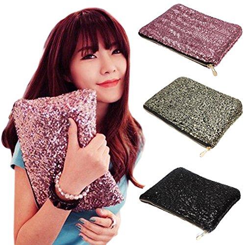 Dazzling Glitter Sparkling Bling Sequins Handbag Clutch Evening Party Bag (Black)
