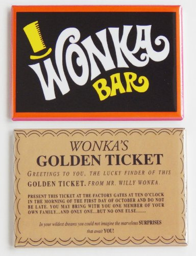 Wonka Bar & Golden Ticket Fridge Magnet Set (2 x 3 inches) (Willy Wonka Bar compare prices)