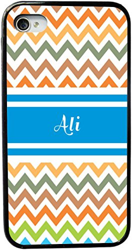 """Rikki Knighttm """"Ali"""" Blue Chevron Name Design Iphone 4 & 4S Case Cover (Black Rubber With Bumper Protection) For Apple Iphone 4 & 4S front-623908"""
