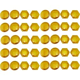 Cmxsevenday No.7836 Whiteboard Magnetic Button, 40mm Diameter, Hexagon / Rotundity, Various Colors, 10 Pack - Yellow