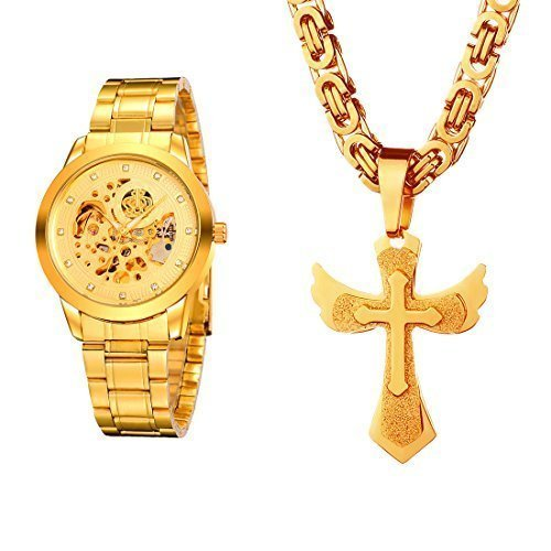 MECOO Weiguan Gold Watch Automatic Mechanical Watches 18k Gold Frosted Crucifix Pendant Cross Necklace casual mens set