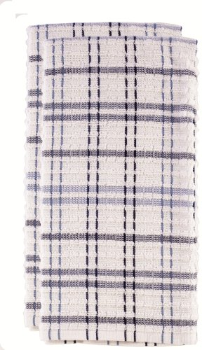 Ritz 13124 Royale Collection Check Kitchen Towel Set, 2-Piece, Federal Blue
