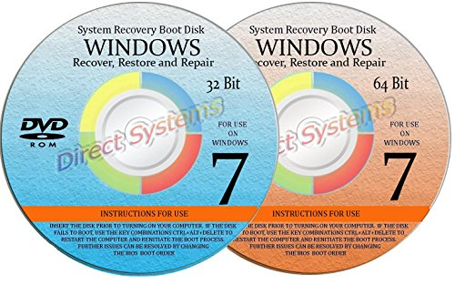 2 BOOT DISKS for WINDOWS 7 SEVEN SYSTEM REPAIR (32 & 64 BIT) DISK Used for RESTORE & RECOVERY (Windows 7 Repair compare prices)