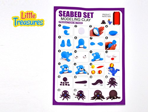 Little Treasures Animals of The Sea Modeling Clay Set, Sculpt a Sea Lion or Octopus, 5 Colors, 5 Years and Up