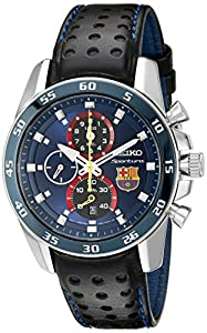 Seiko Herren-Armbanduhr XL Chronograph Quarz Leder SPC089P1