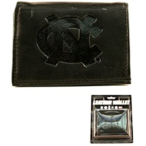 NCAA Officially Licensed Genuine Leather Tri-Fold Wallet -Black by Rico