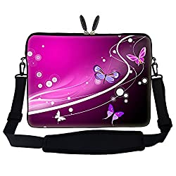 15 15.6 inch Pink Butterfly Design Laptop Sleeve Bag Carrying Case with Hidden Handle & Adjustable Shoulder Strap for 14 15 15.6 Apple Macbook Acer Asus Dell Hp Sony Toshiba and More