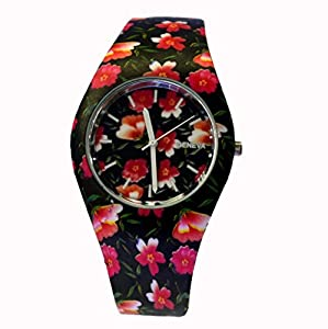 Style Gift Women Ladies Flower Print Rubber Unisex Quartz Watch SG1237-#8