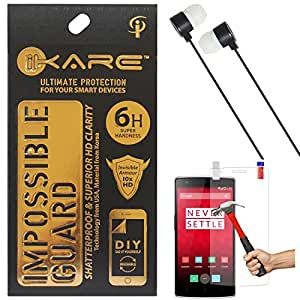 iKare Fiber Glass Screen Protector for One Plus One + Black Stereo Earphone with Mic