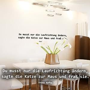 """Wandkings Wandtattoo """"Du musst nur die Laufrichtung ändern, sagte die Katze zur Maus und fraß sie. (Franz Kafka)"""" 190 x 33 cm haselnussbraun - erhältlich in 33 Farben"""